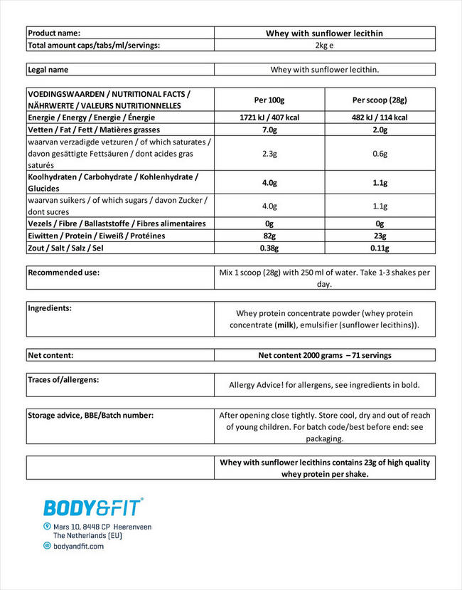 Pure Whey Nutritional Information 5