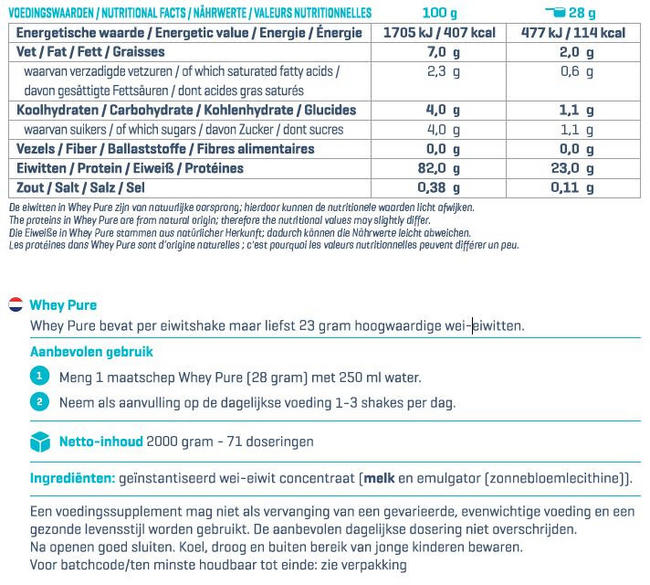Puur Whey Nutritional Information 1