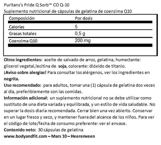 Q-SORB™ Co Q-10 200 mg Nutritional Information 1