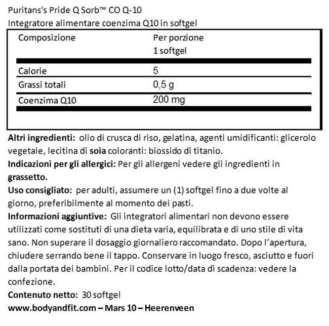 Q-SORB™ Co Q10 200mg Nutritional Information 1