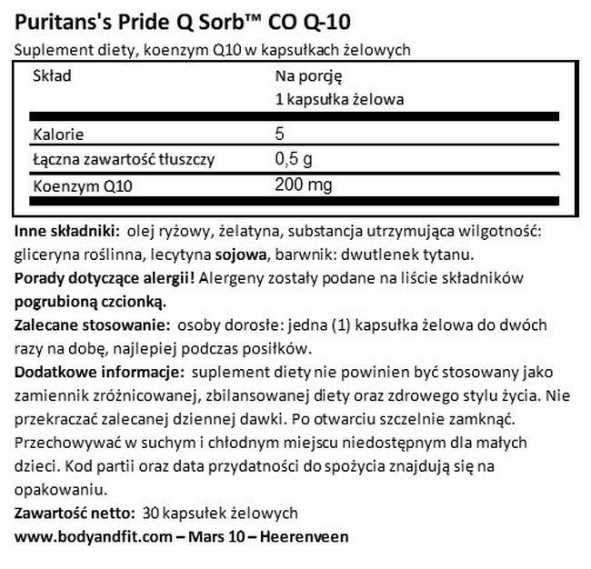 Q-SORB™ Co Q10 200 mg Nutritional Information 1