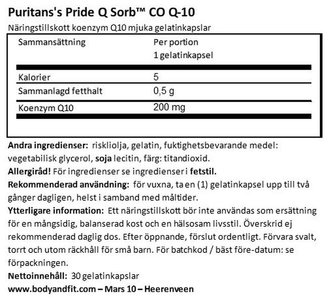 Q-SORB™ Co Q-10 200mg Nutritional Information 1