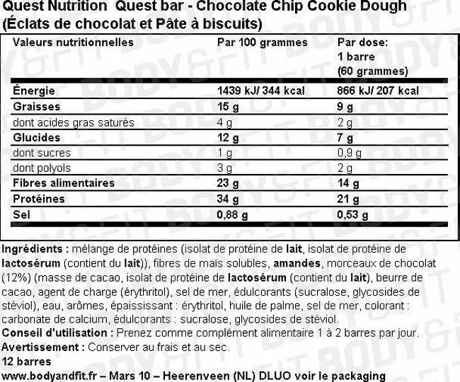 Quest Bar Nutritional Information 2