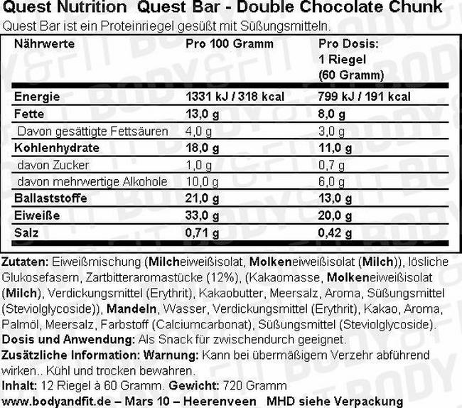 Quest Bar Nutritional Information 5