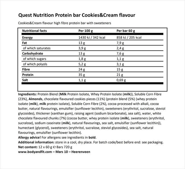 クエスト バー Nutritional Information 1