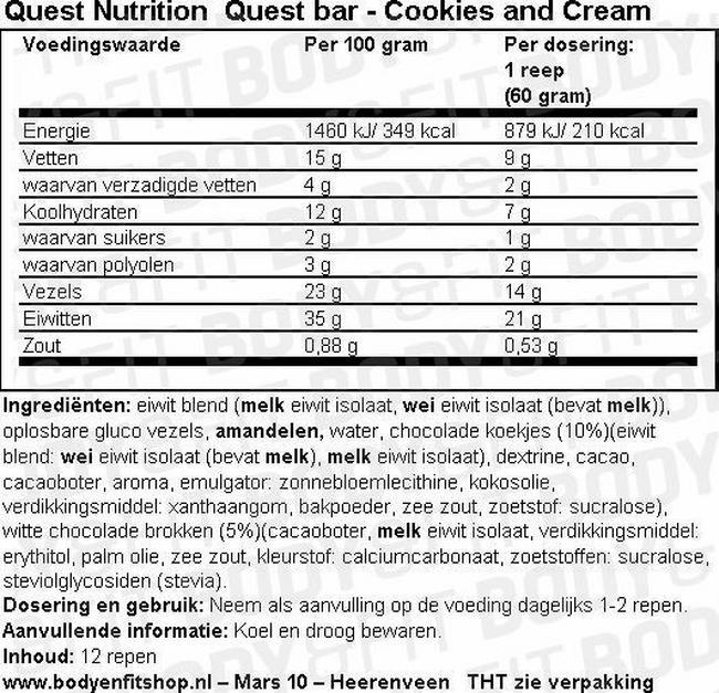 Quest Bar Nutritional Information 3