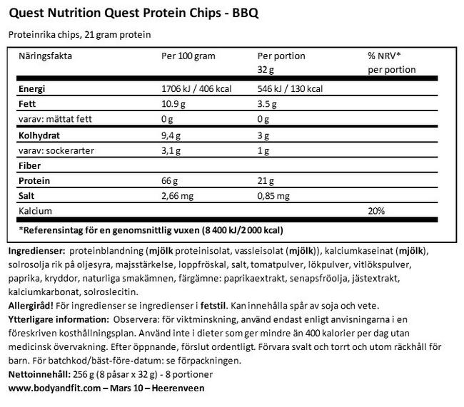 Quest Protein Chips Nutritional Information 1