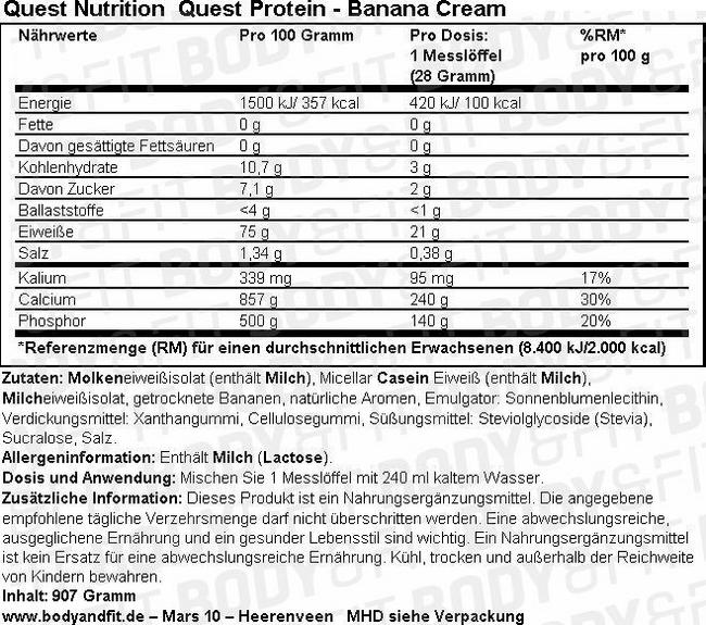 Quest Protein Nutritional Information 2