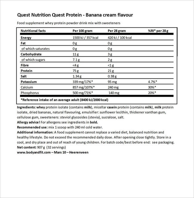 Quest Protein Nutritional Information 3