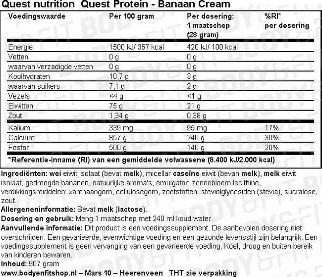 Quest Protein Nutritional Information 1