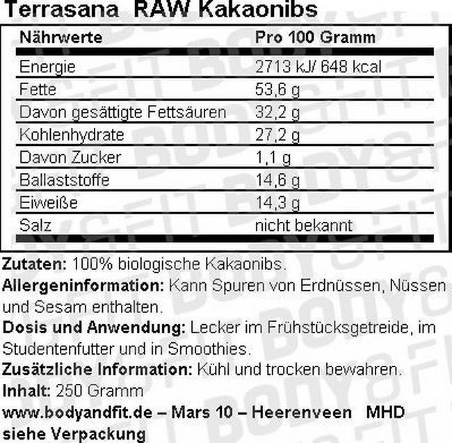 RAW Kakaonibs Nutritional Information 1