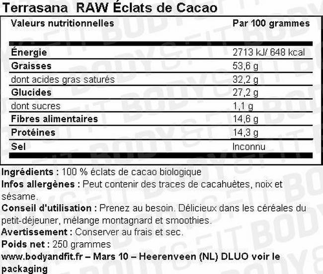 RAW Éclats de Cacao Nutritional Information 1