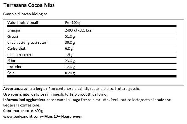 Granola di Cacao Nutritional Information 1