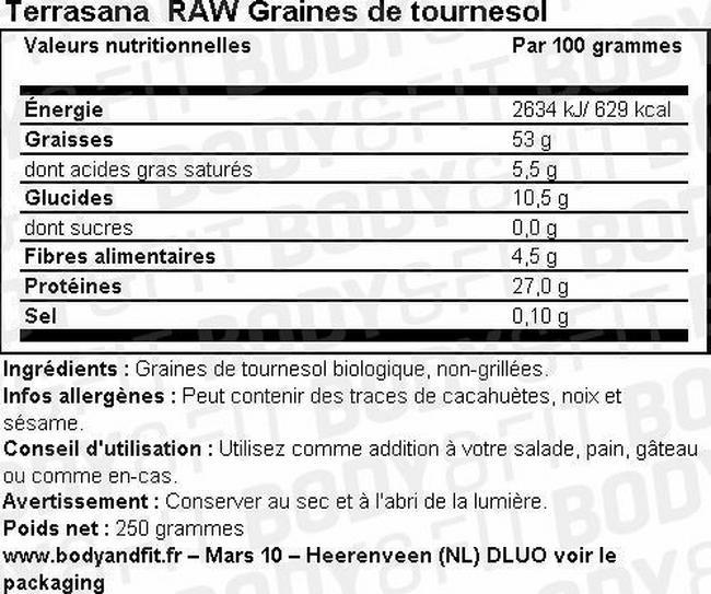 Raw Graines de tournesol Nutritional Information 1