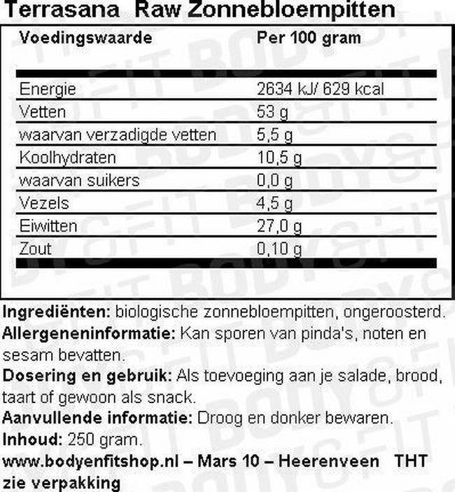 Raw Zonnebloempitten Nutritional Information 1