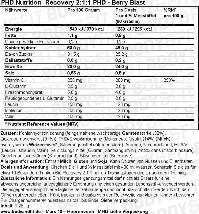 Recovery 2:1:1 Nutritional Information 1