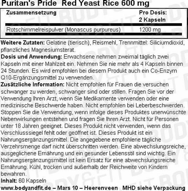 Red Yeast Rice 600 mg Nutritional Information 1