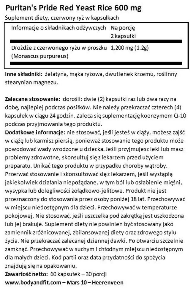 Czerwony ryż 600 mg Nutritional Information 1
