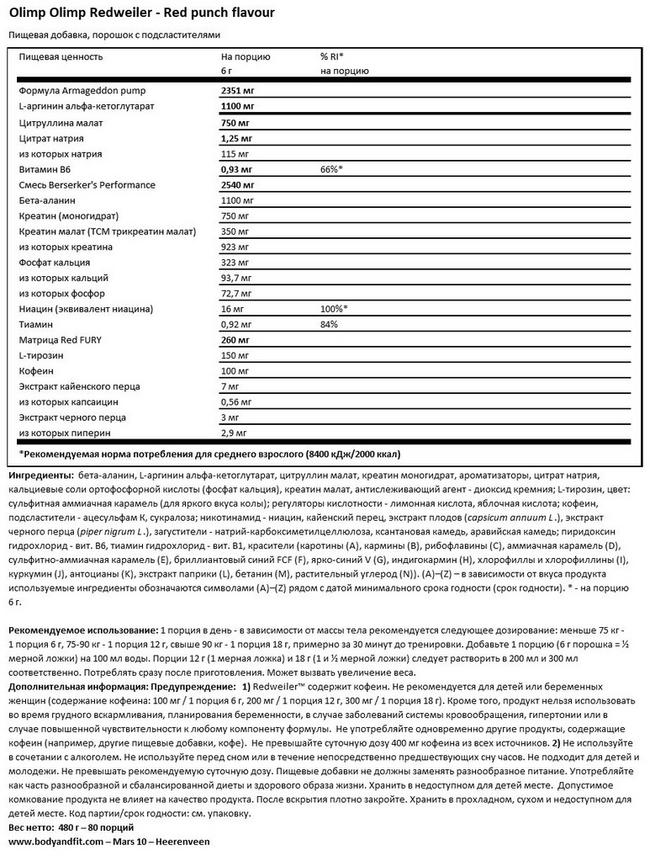 Редвейлер Nutritional Information 1