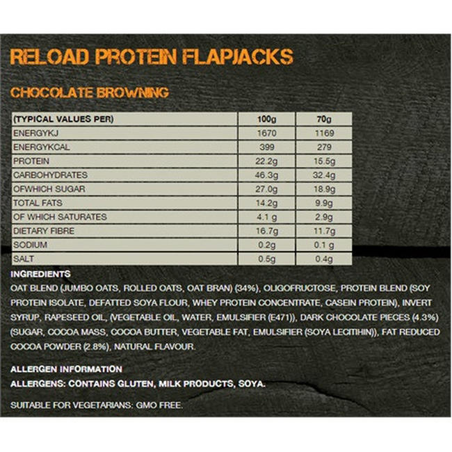 Reload Protein Flapjacks Nutritional Information 4