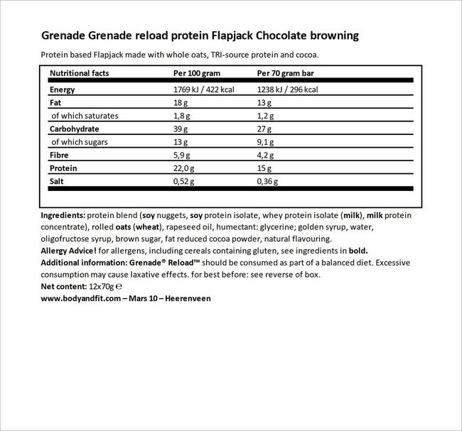 Reload Protein Flapjacks Nutritional Information 5