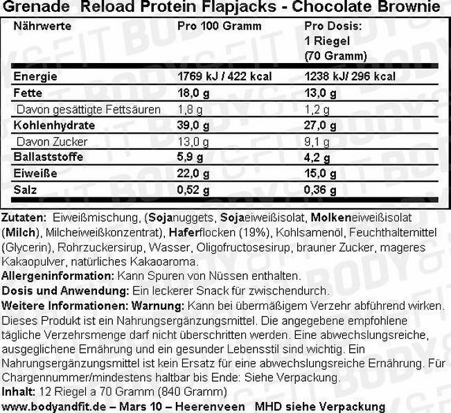 Reload Protein Flapjacks - Box (12X70G) Nutritional Information 1
