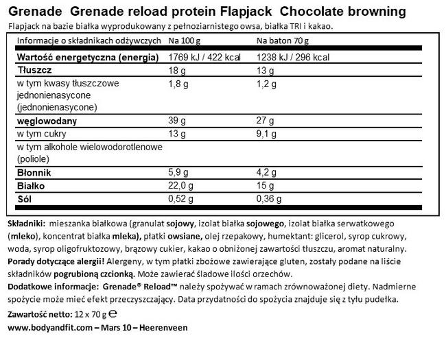 Protein Flapjacks Nutritional Information 1