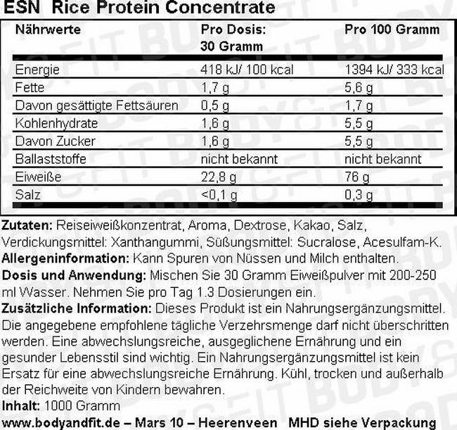 Rice Protein Concentrate Nutritional Information 3