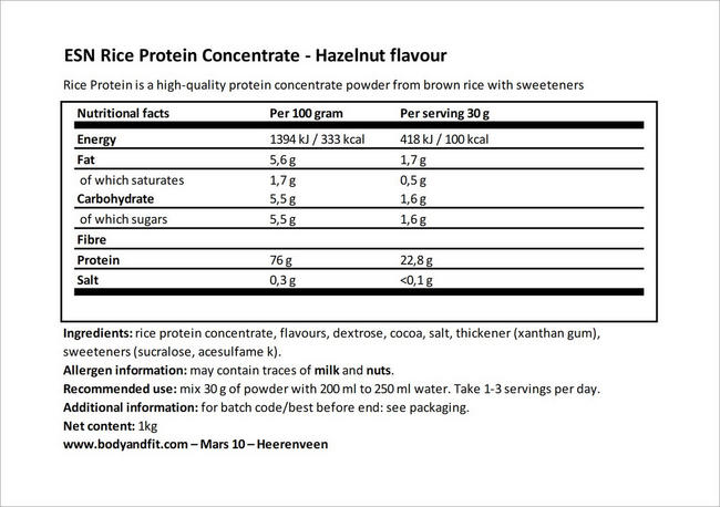 Rice Protein Concentrate Nutritional Information 4