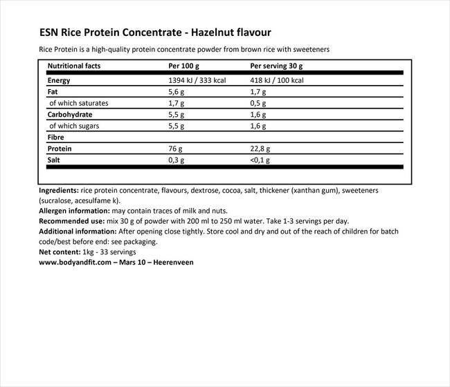 ブラウンライスプロテインコンセントレート Nutritional Information 1