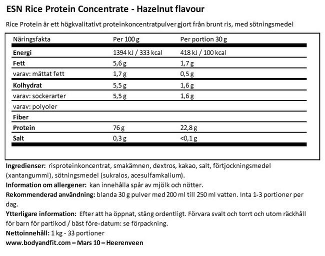 Rice Protein Concentrate Nutritional Information 1