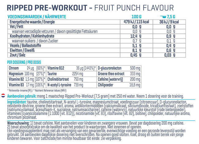 Ripped Pre-Workout Nutritional Information 1