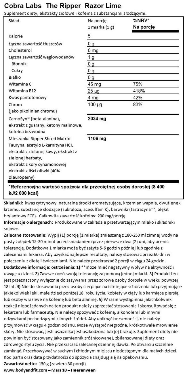 The Ripper Nutritional Information 1