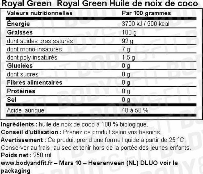 Royal Green Huile de noix de coco Nutritional Information 1
