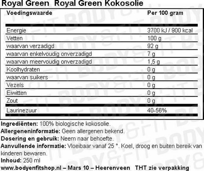 Royal Green Kokosolie Nutritional Information 1