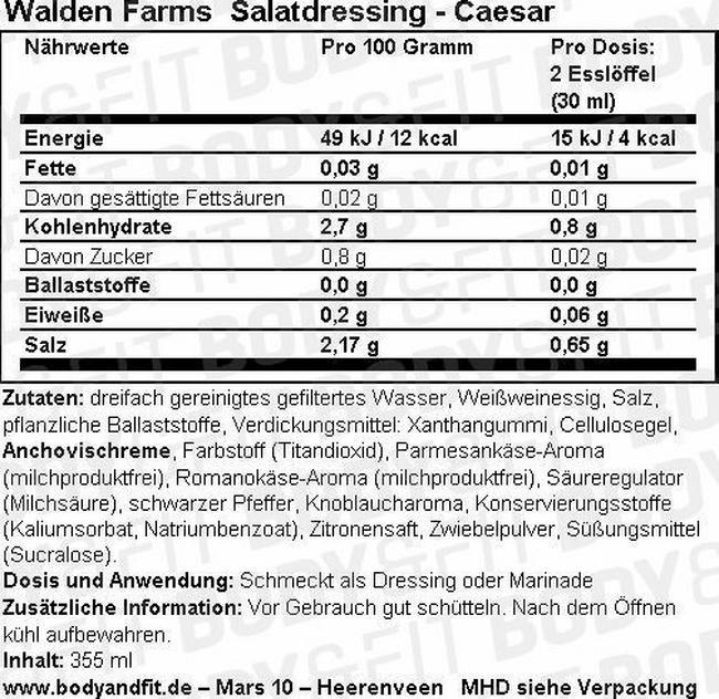 Salat Dressing Nutritional Information 2