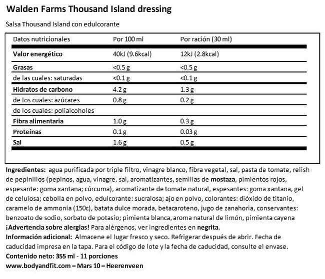 Vinagreta de Ensalada sin Azúcar  Nutritional Information 1