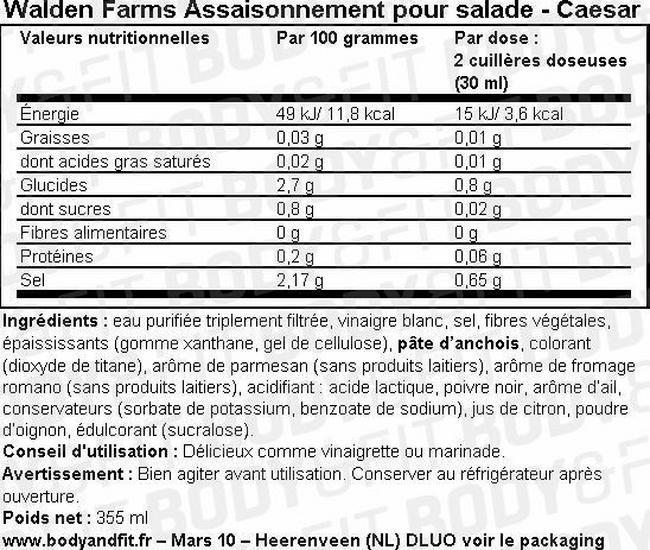 Assaisonnement pour salades Salad Dressing Nutritional Information 1