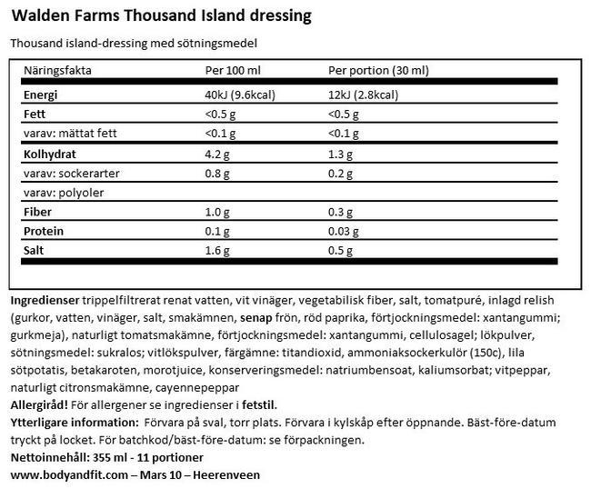 Salad Dressing Nutritional Information 1