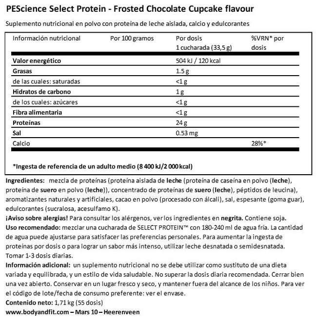 Select Protein Nutritional Information 1