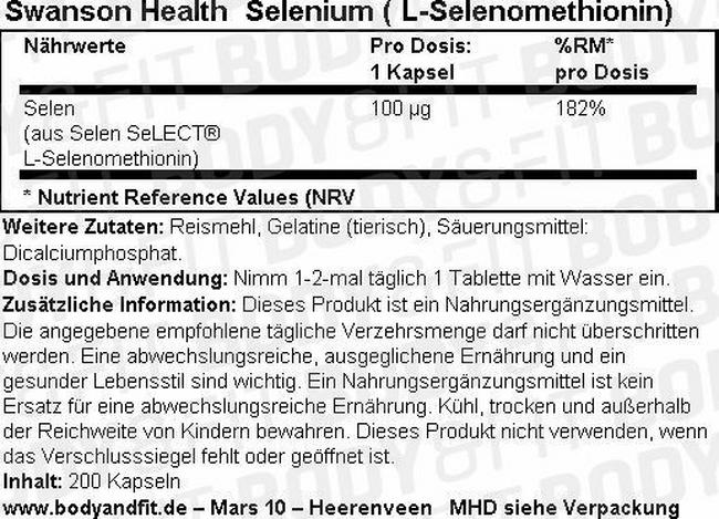 Selenium 100 mcg Nutritional Information 1