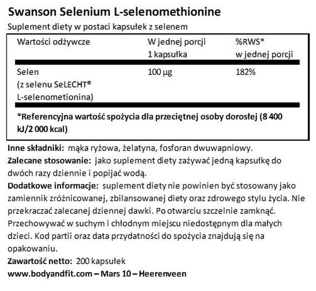 Selen 100 µg Nutritional Information 1