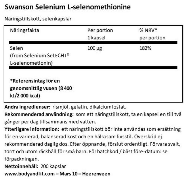 Selenium 100mcg Nutritional Information 1