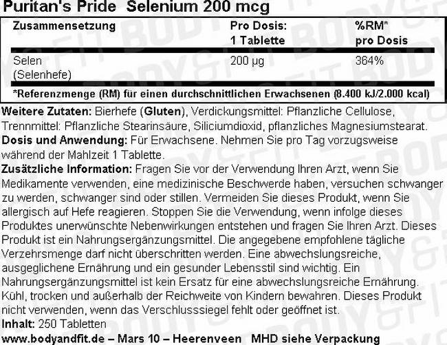 Selenium 200mc Nutritional Information 1