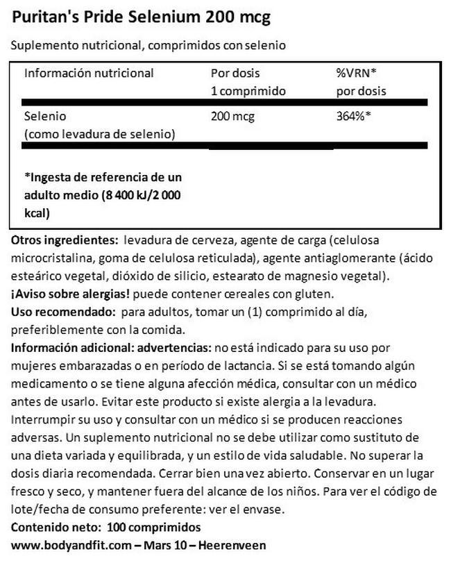 Selenium 200 µg Nutritional Information 1