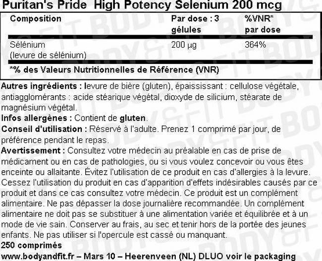 Selenium 200 mcg Nutritional Information 1