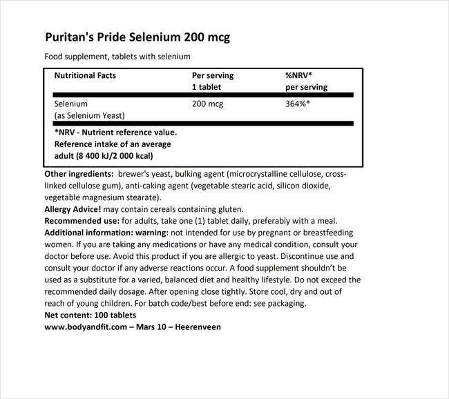 Puritan's Pride セレン200mcg - 100錠 Nutritional Information 1