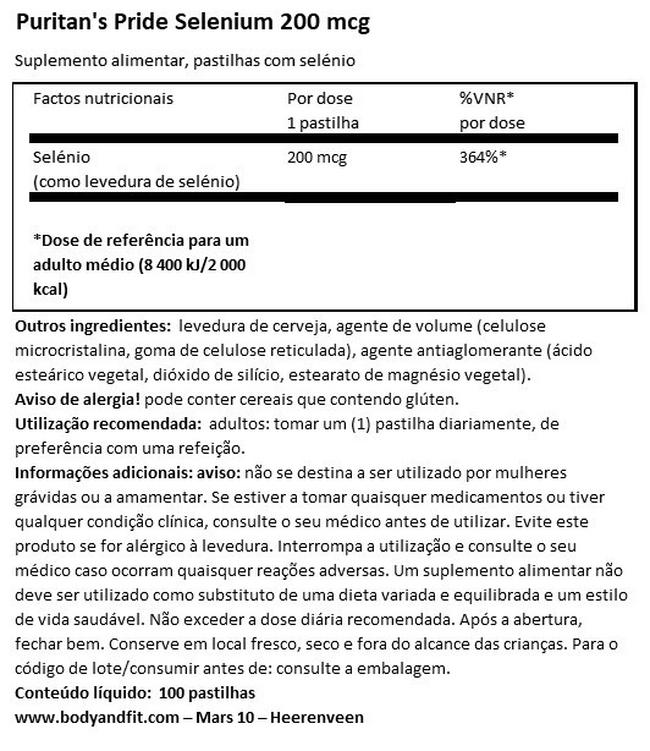 Selenium 200µg Nutritional Information 1
