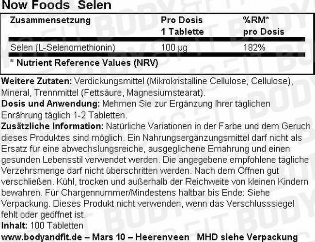 Selen Nutritional Information 1