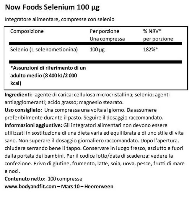 Selenio Nutritional Information 1